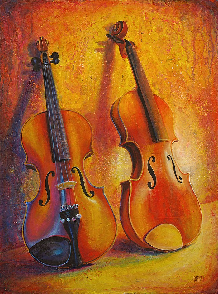 "Acrylic painting on canvas titled  ""Two Violins #1 (No Strings Attached)""  by Daniel R. Carver (aka Dano)"