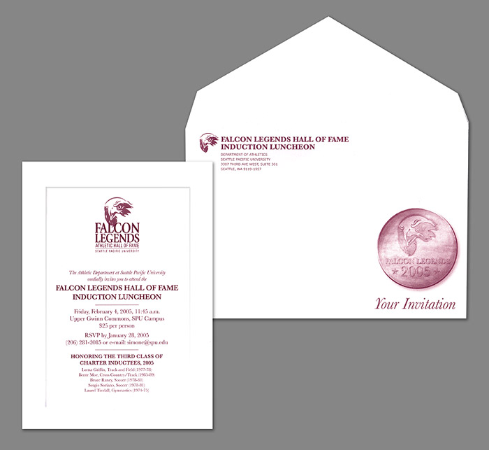 2005 SPU Falcon Legends Hall of Fame Induction Luncheon invitation and outer envelope