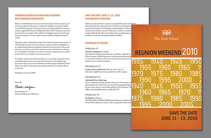 The Bush School Reunion Weekend 2010 save the date card