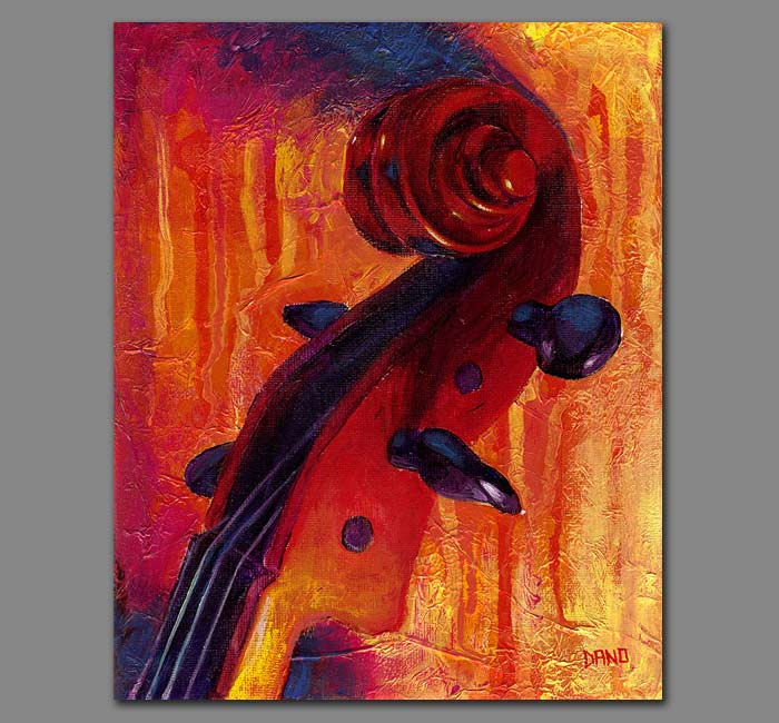 """Fit as a Violin #5"" - Acrylic painting on canvas (8""w x 10""h)"