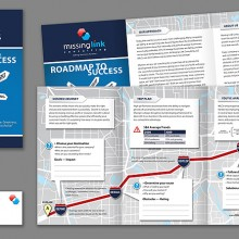 Missing Link brochure and business cards