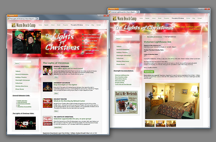 The Lights of Christmas website design
