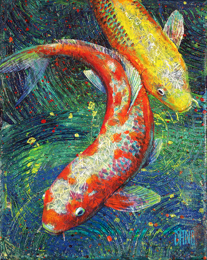 Painting of two koi fish