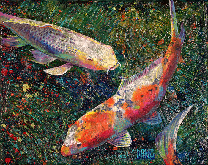 Acrylic painting of two koi fish