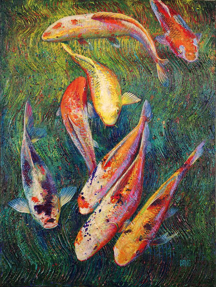 Painting of koi fish