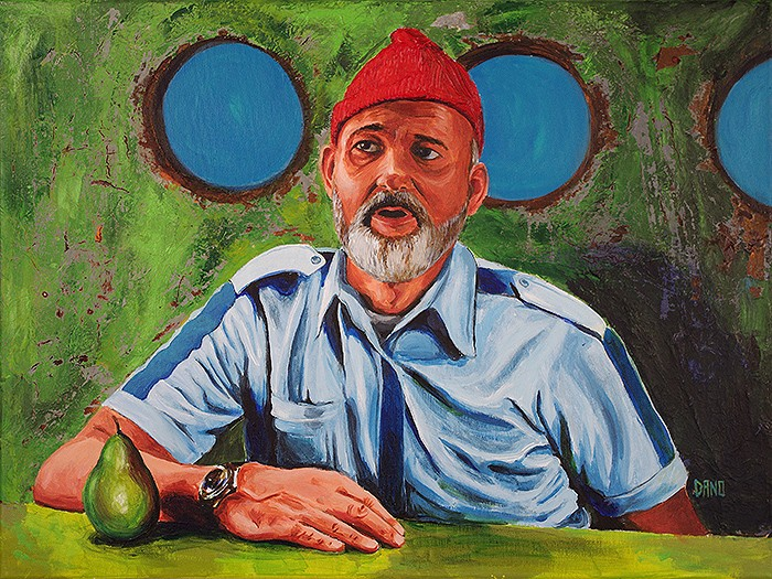 "Acrylic painting on canvas ""Bill Murray as Steve Zissou"" by Daniel ""Dano"" Carver"