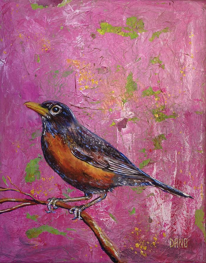 """American Robin #4"" - acrylic on canvas. Artist: Daniel (Dano) Carver"