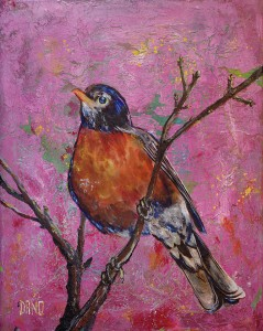 """American Robin #6"" - acrylic on canvas. Artist: Daniel (Dano) Carver"