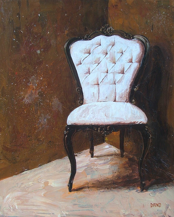 "'Find a Seat #6' - Acrylic painting on canvas (16""w x 20""h). Artist: Daniel (Dano) Carver"