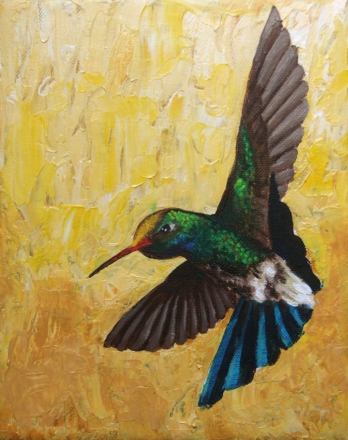 """Humming Bird #1"" - acrylic painting on canvas."