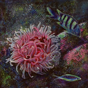 """Puget Sound Under Water Marine Life #2"" - acrylic on canvas (12"" x 12""). Artist: Daniel (Dano) Carver."