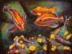 """Jouvenile Rock Fish and Sea Anemones"" - acrylic painting on canvas (16"" x 12""). Artist: Daniel (Dano) Carver"
