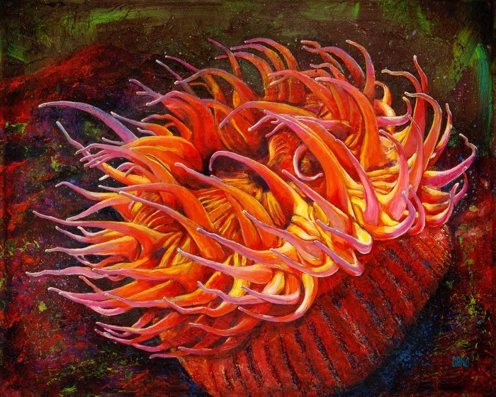 """Sea Anemone"" - acrylic painting on canvas (30"" x 24""), by Daniel (Dano) Carver"
