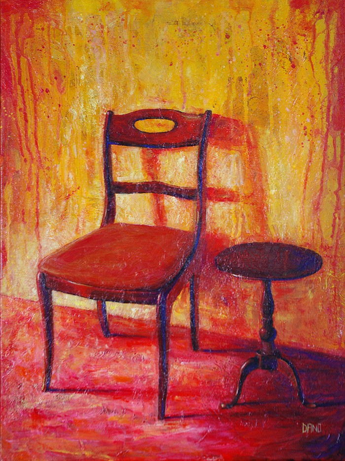 "'Find a Seat #9' - Acrylic painting on canvas (18""w x 24""h). Artist: Daniel (Dano) Carver"