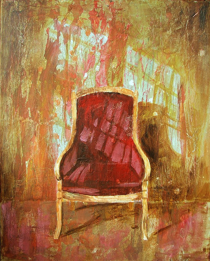 "'Find a Seat #2' - Acrylic painting on canvas (16""w x 20""h). Artist: Daniel (Dano) Carver"