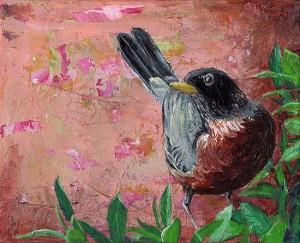 """American Robin #1"" - acrylic on canvas. Artist: Daniel (Dano) Carver"
