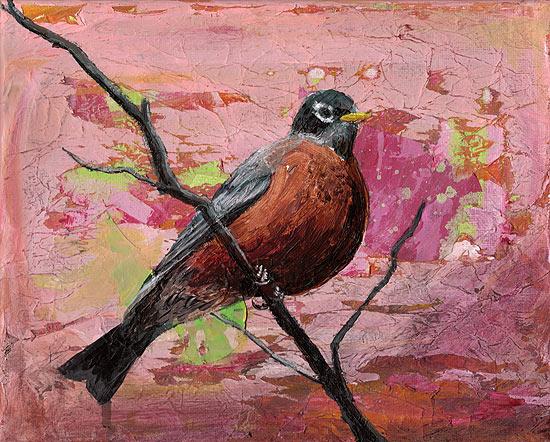 """American Robin #2"" - acrylic on canvas. Artist: Daniel (Dano) Carver"